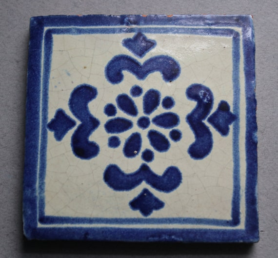 French, Antique, Blue and White Tile