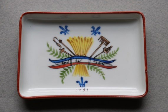French Ceramic Hand Decorated Dish Commemorating France's First Constitution