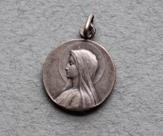 Virgin Mary and Sacred Heart of Jesus Religious Medal from France