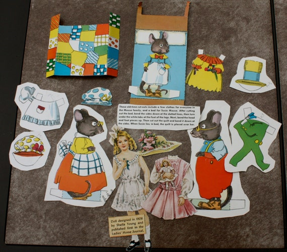 Susie Mouse and Victorian Repro Paper Dolls from 1950s Jack and Jill Magazine