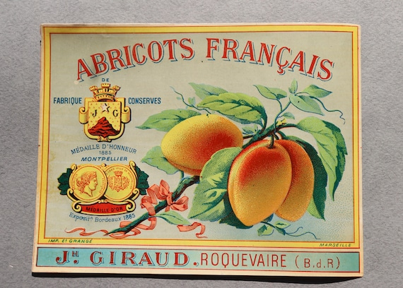 Antique, French Label for JH Giraud Abricots, Roquevaire