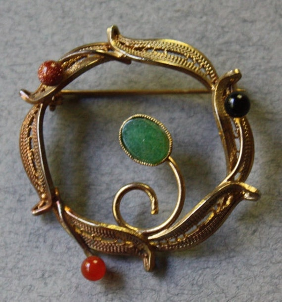Vintage, Circular, Open Center, Gold Tone, Filigree Brooch with Four Stones