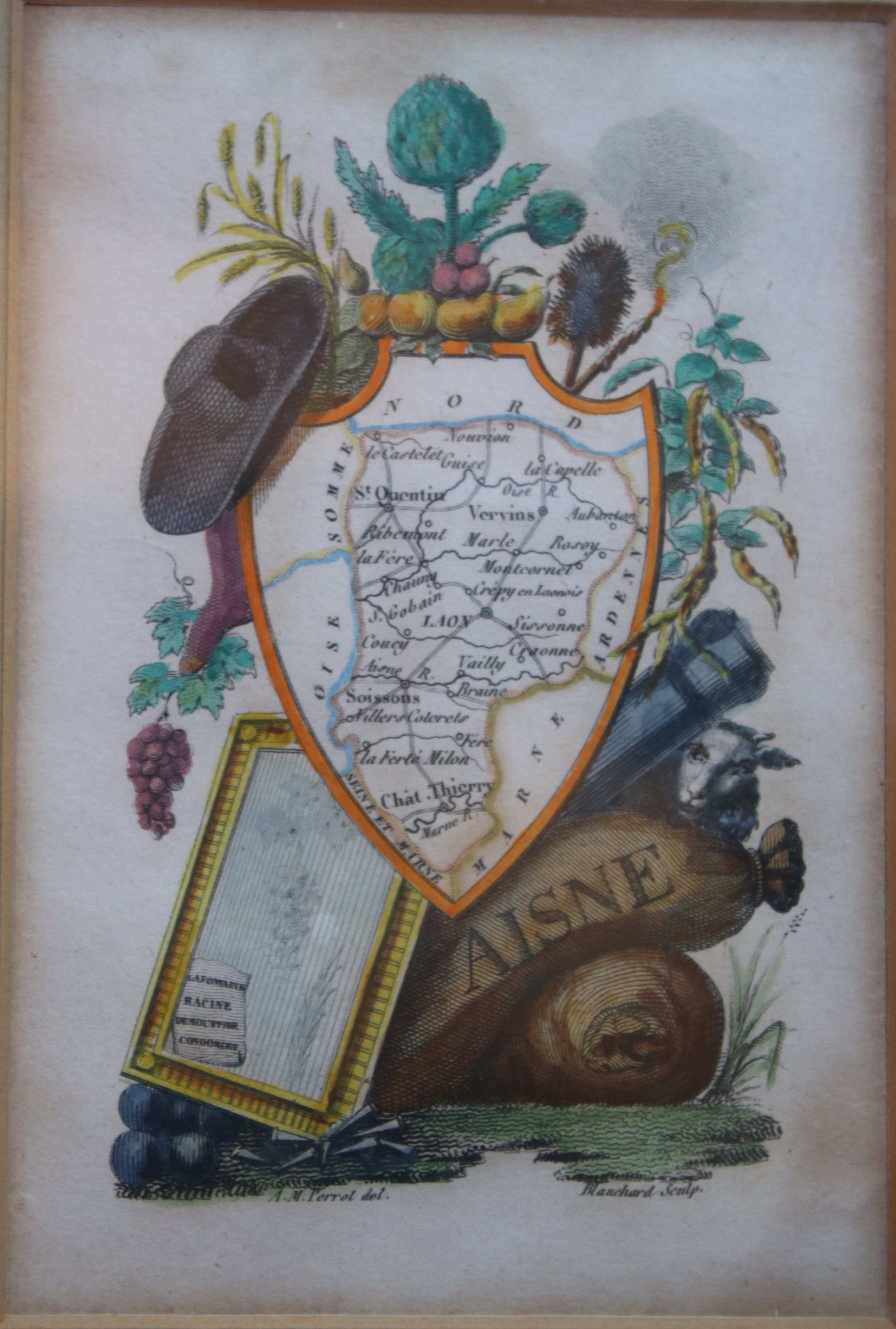 Antique Framed French Engraving, Map of Aisne, Drawn by A