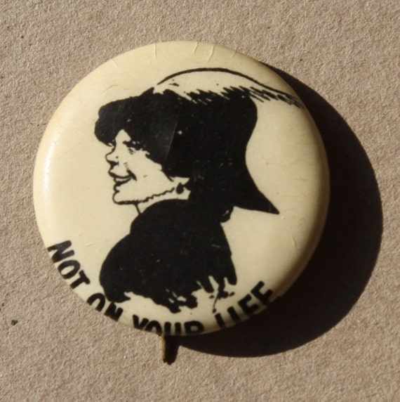 "Celluloid, ""Not on Your Life,"" Hassan Cigarettes, Vintage, Pin Back Button"