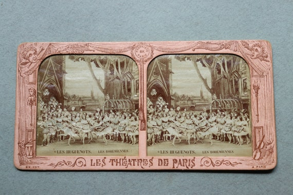 """RESERVED FOR KO: Antique, French Tissue Stereoview Featuring """"Les Huguenots"""" French Opera"""