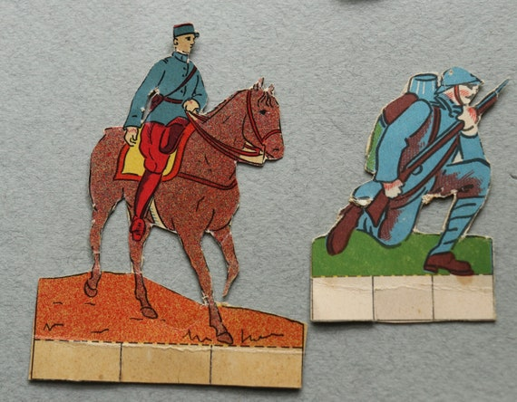 Antique, WWI, French Soldier Paper Cut Outs, Set of 15