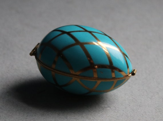 Hinged Egg with Miniature Glass Perfume Bottle and Vial