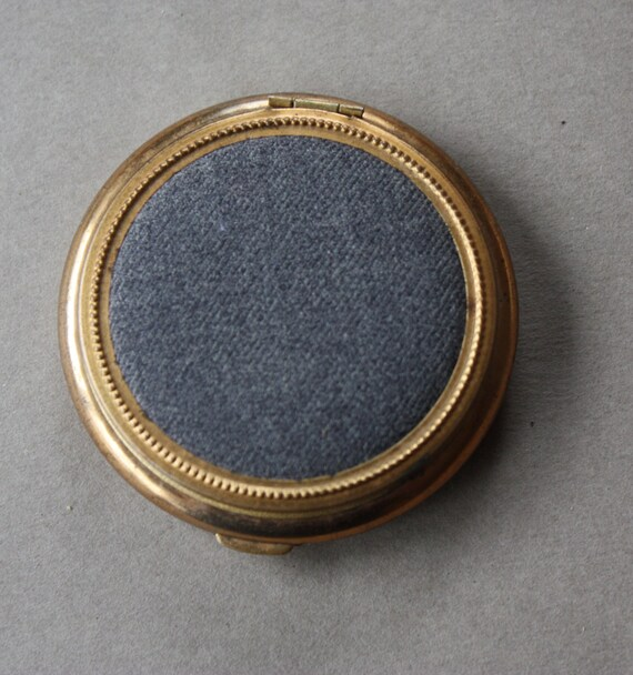 """Small Powder Compact with Gray Lid, Stamped """"Made in USA"""""""