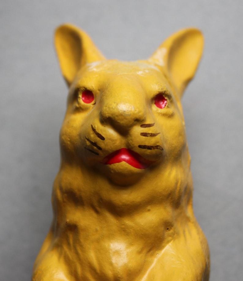 German-Made Papier-M\u00e2ch\u00e9 Circa 1930s Yellow Rabbit Candy Container