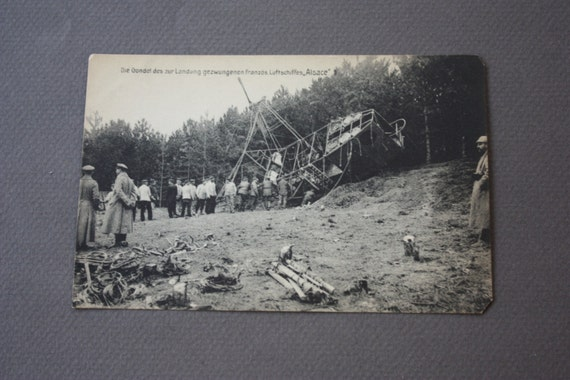 German Antique Postcard of the Gondola of the Forced Landing of the French Airship Alsace During WWI