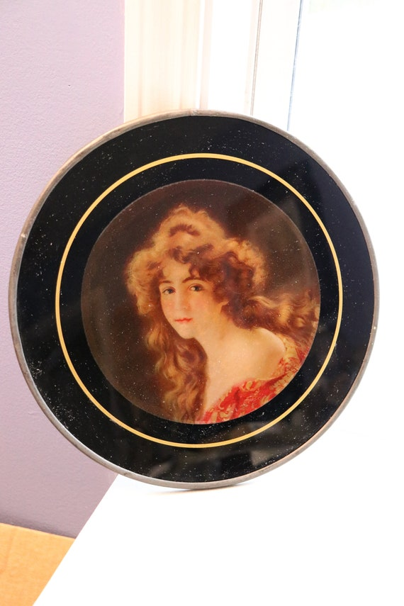 Antique Glass Flue Cover of Young Woman