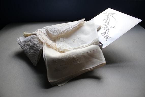Vintage Metal Handkerchief Box with Handkerchiefs
