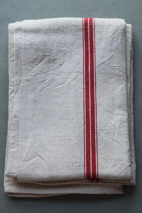 Vintage, French Linen, Red-Striped Towel