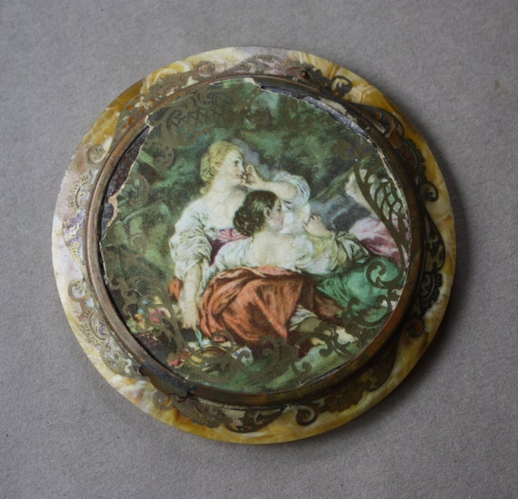 French Swirled Butterscotch Celluloid Compact with Pastoral Scene