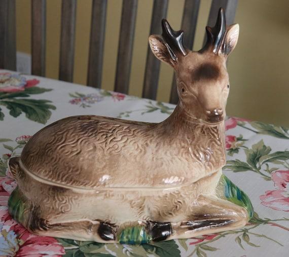 Handmade, Faience, Michel Caugant Deer Paté Terrine