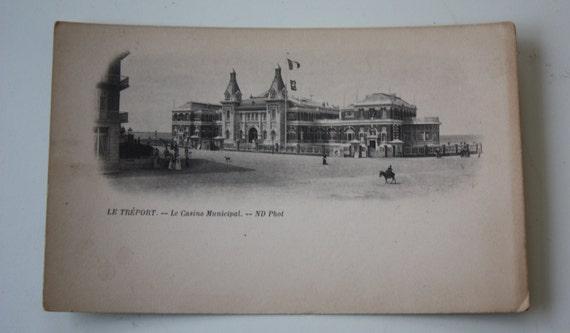Le Trèport Le Casino Municipal ND Photo Antique Postcard from 1800s