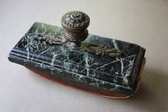 Large, Marble and Wood, Antique, Rocking Ink Blotter