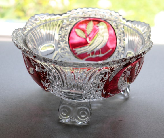 Hofbauer Crystal Footed Bowl from the Ruby Byrdes Line, West Germany