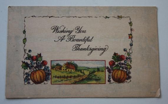 Wishing You a Bountiful Thanksgiving Vintage Winsch Back Postcard