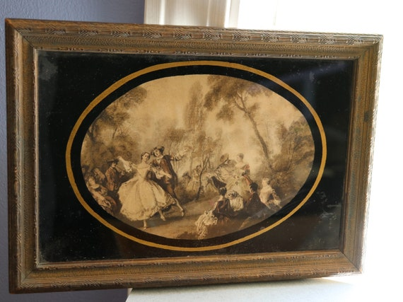Vintage, Possibly Antique Vanity Tray with Wooden Frame, Mirror and Courtship Scene