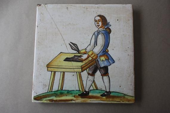 Antique or Vintage Dutch or Spanish Tile Depicting Leatherworker