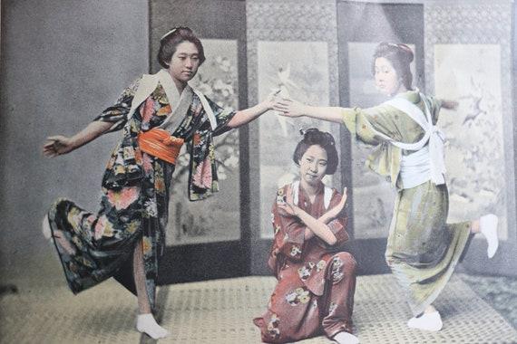 """Antique, French, Photochrom Print- """"Danse en Famille au Japon"""""""