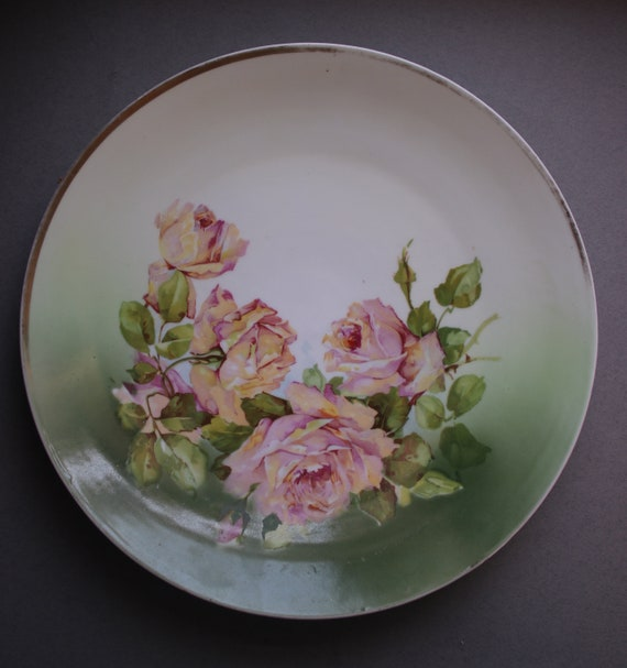 Antique, Porcelain, Three Crown German Plate with Roses