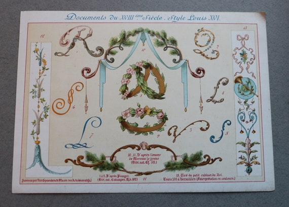 19th Century French Chromolithograph Featuring Style Motifs of Louis XVI