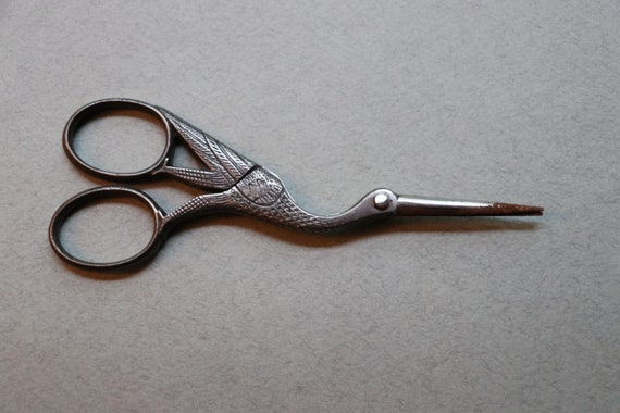 Antique, French, Stork, Needlework Scissors