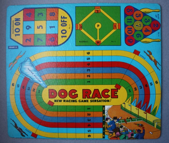 Dog Race New Racing Game Sensation and Fish-Pond Game Board by Transogram