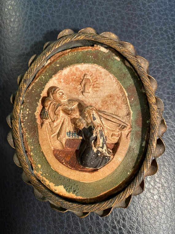 Polychrome Plaster Intaglio under Glass of the Death and the Assumption of the Virgin Mary