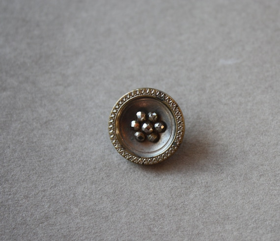 Antique, French, Cut Steel, PH Paris Back Mark Button