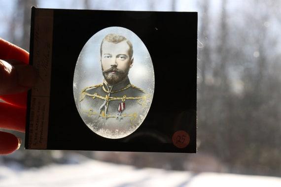 Tsar Nicholas II, Antique Magic Lantern Slide by Maison de la Bonne Presse of Rue Bayard, Paris