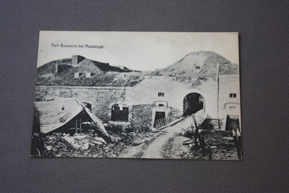 WWI Antique German Postcard of the Destruction of French Fort Boussois de Maubeuge