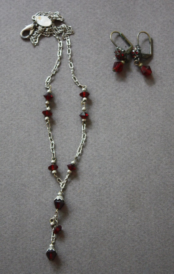 Robert Rose Red Stone Y Necklace and Earring Set
