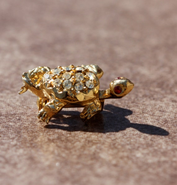 Vintage Turtle Pin with Rhinestones and Faux Rubies