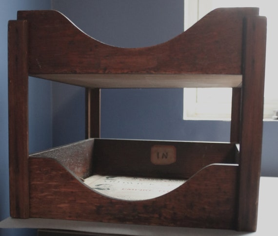 Two Tier, Wood Mail Tray, Circa 1930s