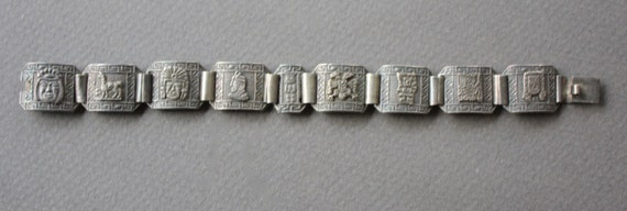 Peruvian 1940s 925 Signed Silver Panel Bracelet