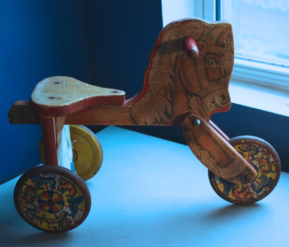 Metal Masters Vintage Ride-on Wooden Horse with Metal Lithographed Wheels