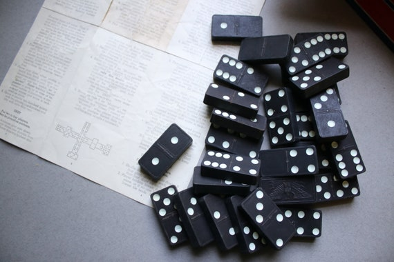 Double Six, Celluloid, Magna Dominoes Set by The Embossing Company