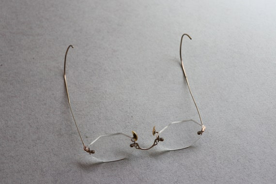 Circa 1920s Rimless Ful-Vue Spectacles with Octagonal Lenses