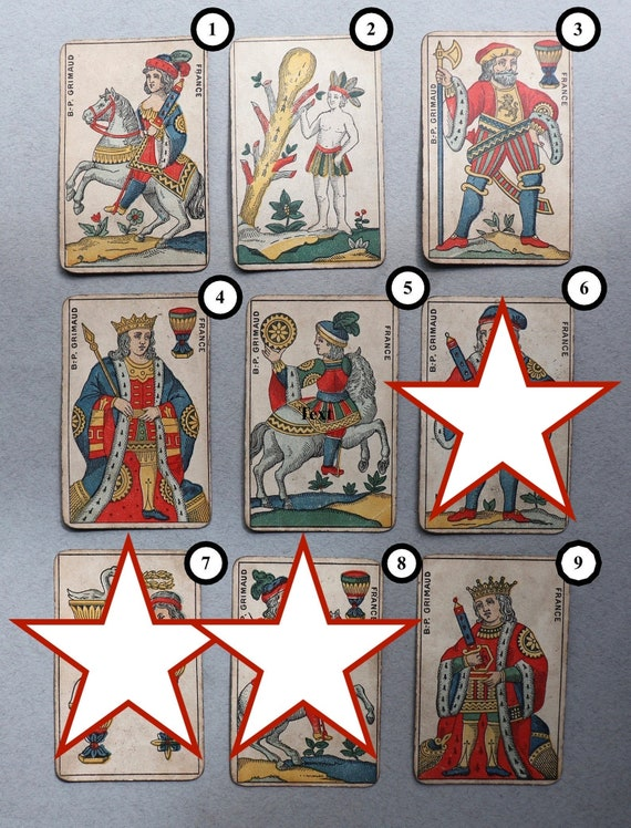Antique Playing Cards from French, BP Grimaud Aluette (or La Vache) Deck