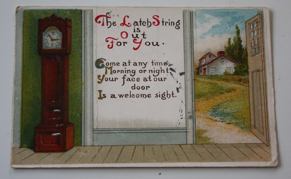 Vintage 1917 Winsch Back Postcard with Grandfather Clock and Open Door- Please Come Visit!