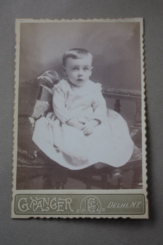 Antique, Circa 1800s, Victorian Era Cabinet Card by Edwin Winans of Oneonta, New York