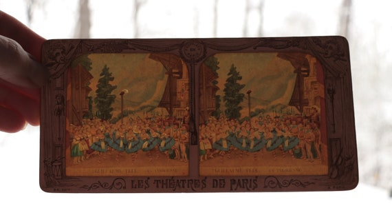 """Antique, French Tissue Stereoview Featuring """"La Tyrolienne"""" from """"William Tell"""""""