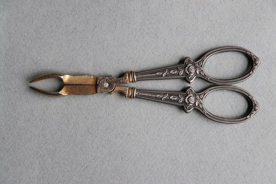 French Sugar Tongs with Rose Floral Design on Silver Handles with Boar's Head Mark
