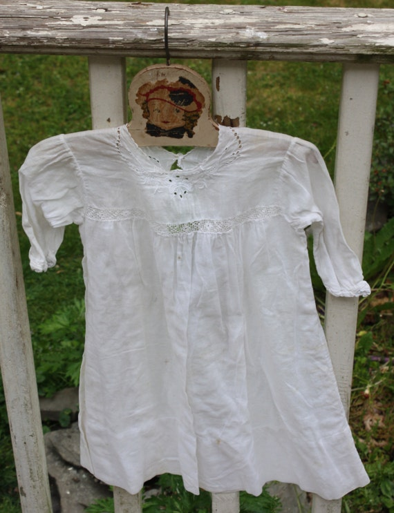 Antique, Early 1900s, White Cotton Child's Dress/Gown or Doll Dress/Gown