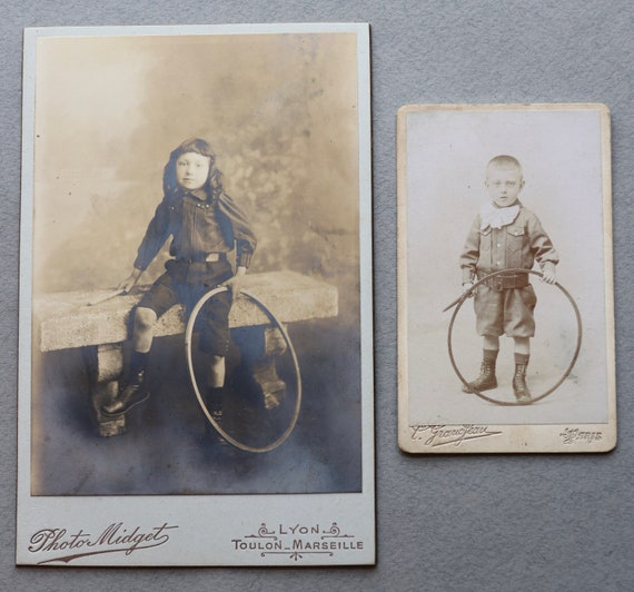 Two Antique French Photos- CDV and Cabinet Card- of Boys with Early Hoops