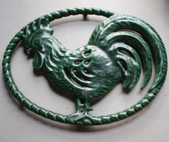 Green, Cast Iron Rooster Trivet, Made in France