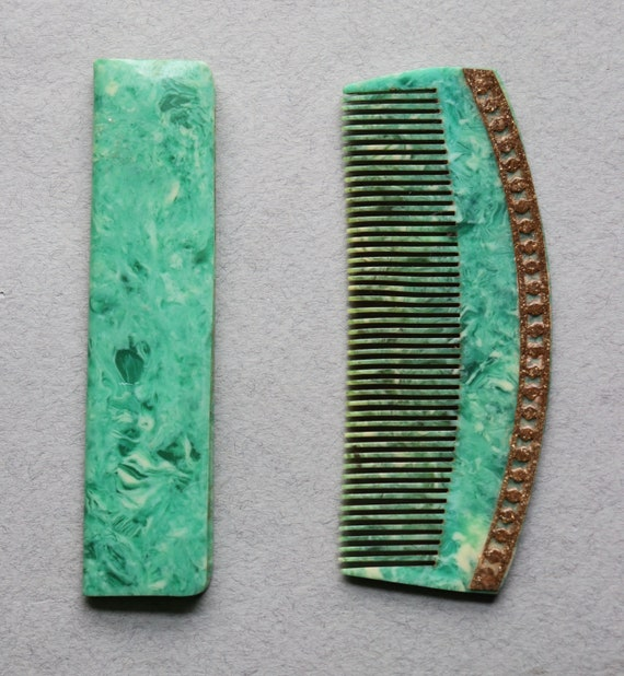 Art Deco Celluloid Comb with Case, from France